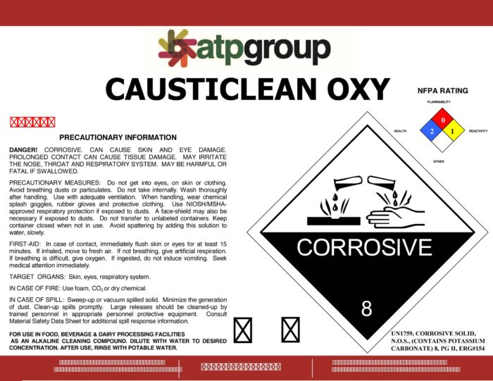 CAUSTICLEAN OXY label